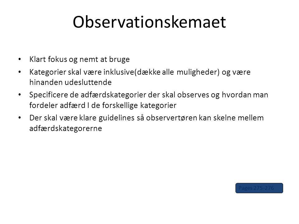 Observationskemaet Klart fokus og nemt at bruge