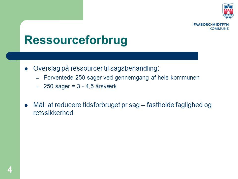 Ressourceforbrug Overslag på ressourcer til sagsbehandling: