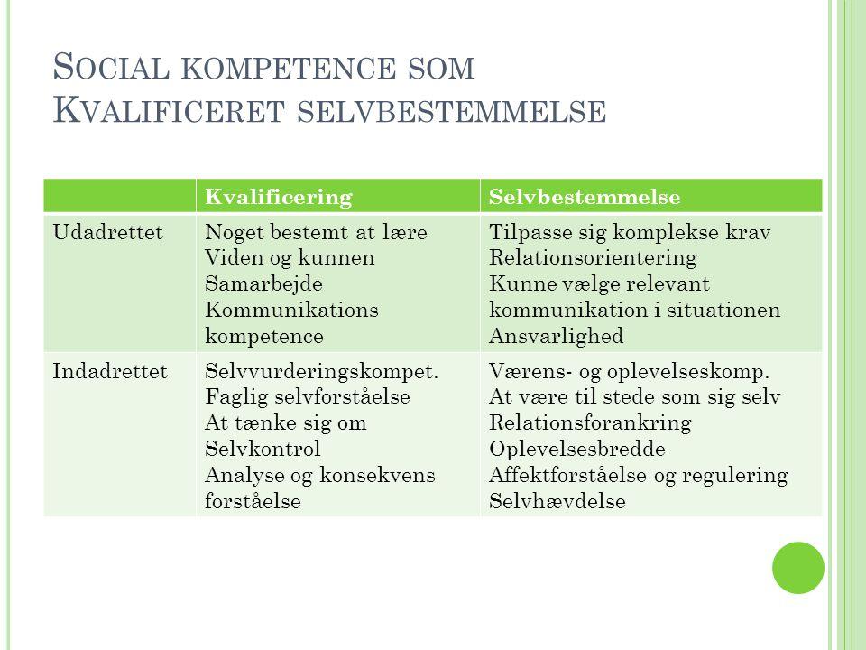 Social kompetence som Kvalificeret selvbestemmelse