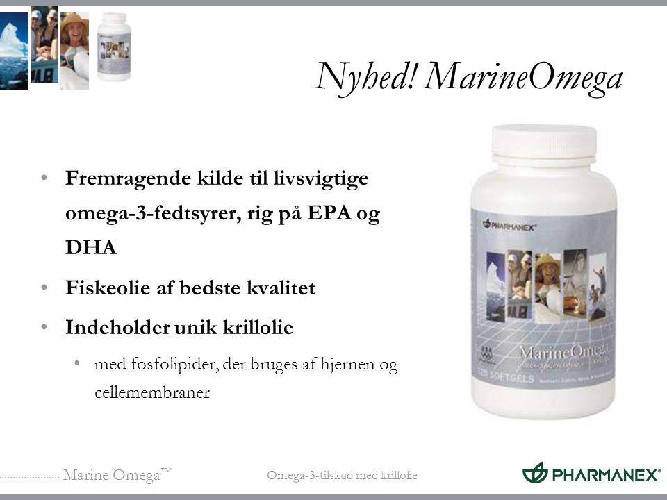 Nyhed! MarineOmega Fremragende kilde til livsvigtige omega-3-fedtsyrer, rig på EPA og DHA. Fiskeolie af bedste kvalitet.