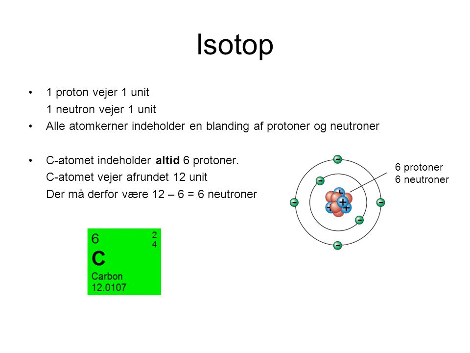 Isotop 1 proton vejer 1 unit 1 neutron vejer 1 unit