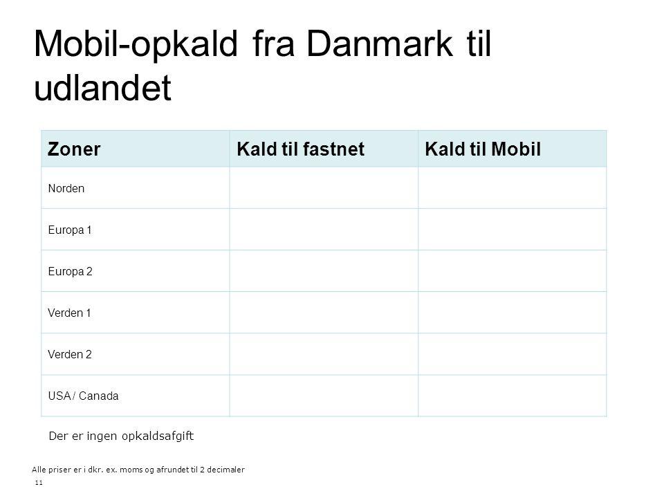 Mobil-opkald fra Danmark til udlandet