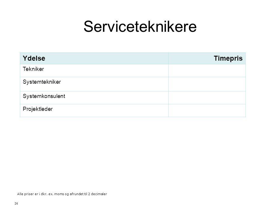 Serviceteknikere Ydelse Timepris Tekniker Systemtekniker