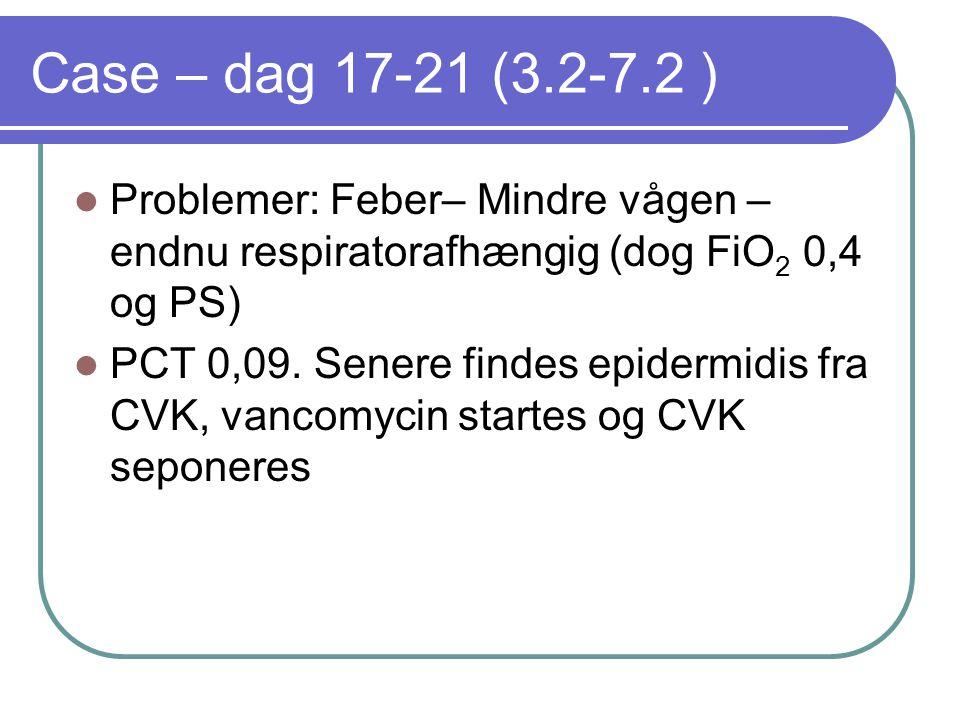 Case – dag 17-21 (3.2-7.2 ) Problemer: Feber– Mindre vågen – endnu respiratorafhængig (dog FiO2 0,4 og PS)