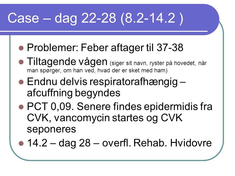 Case – dag 22-28 (8.2-14.2 ) Problemer: Feber aftager til 37-38