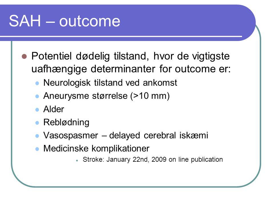 SAH – outcome Potentiel dødelig tilstand, hvor de vigtigste uafhængige determinanter for outcome er:
