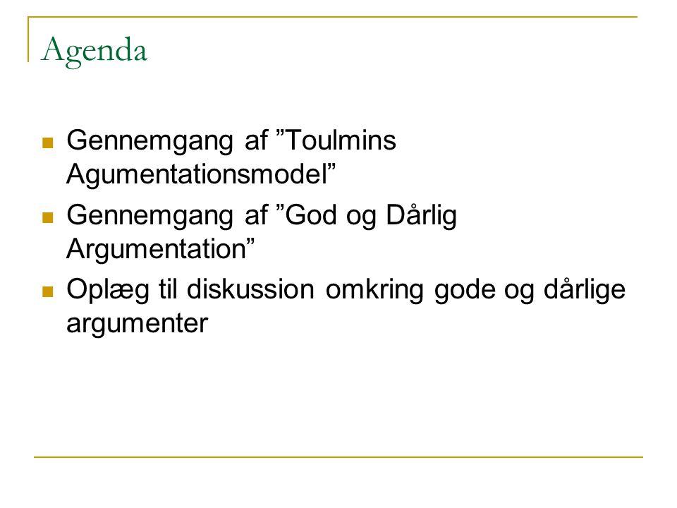 Agenda Gennemgang af Toulmins Agumentationsmodel
