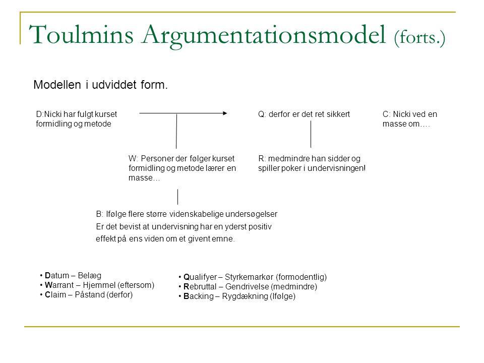 Toulmins Argumentationsmodel (forts.)