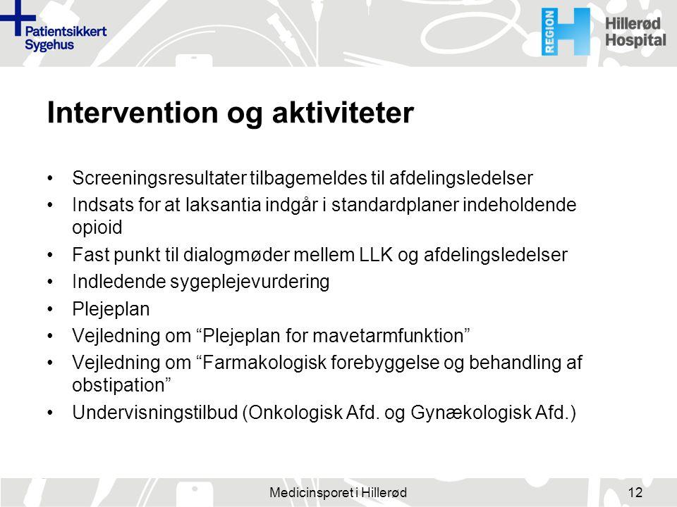 Intervention og aktiviteter