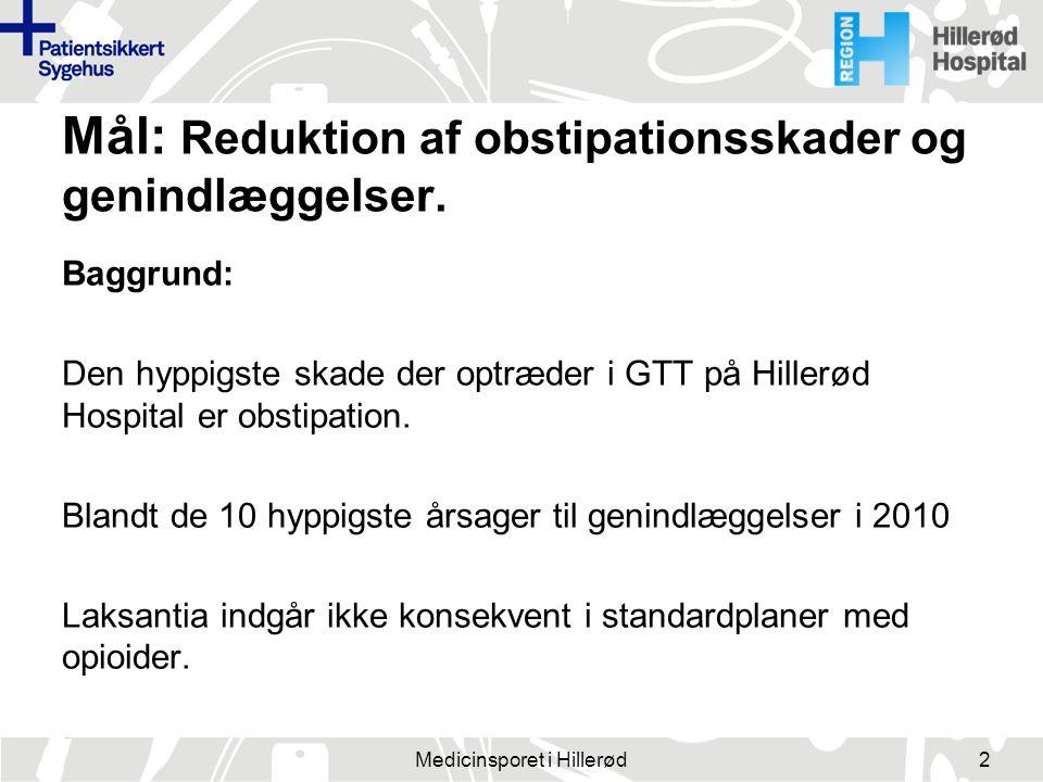 Mål: Reduktion af obstipationsskader og genindlæggelser.