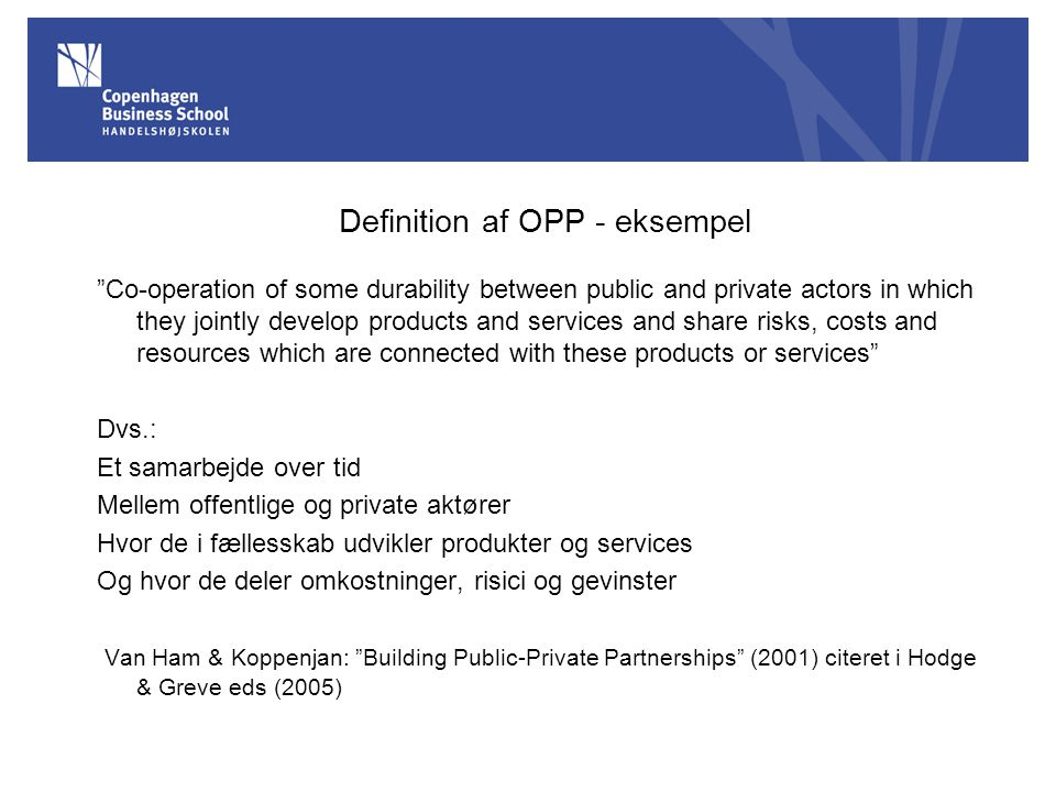 Definition af OPP - eksempel