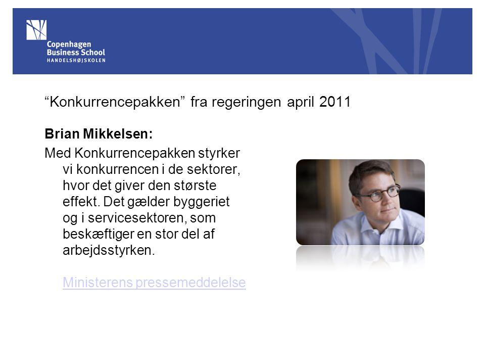 Konkurrencepakken fra regeringen april 2011
