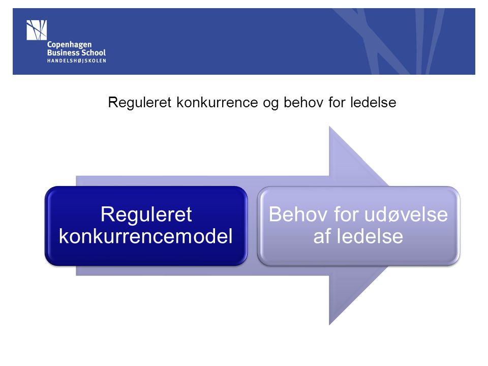 Reguleret konkurrence og behov for ledelse