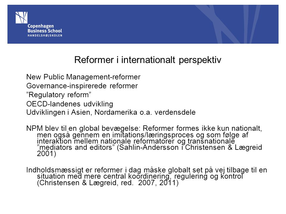 Reformer i internationalt perspektiv