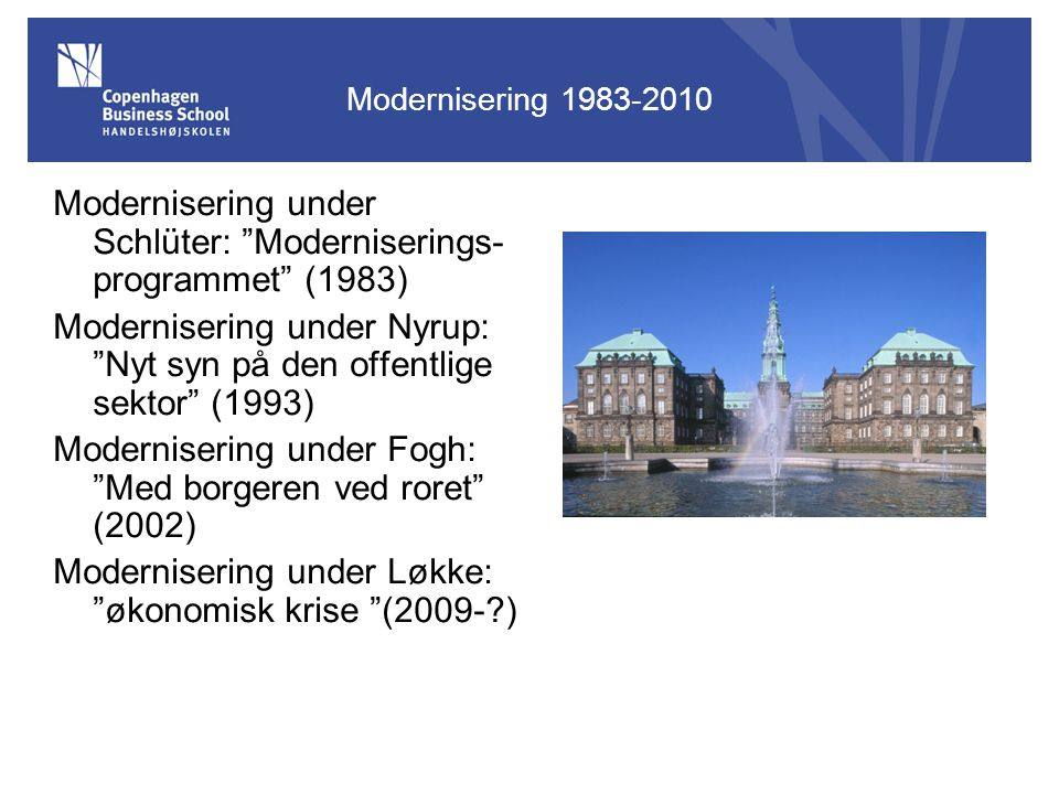 Modernisering under Schlüter: Moderniserings-programmet (1983)