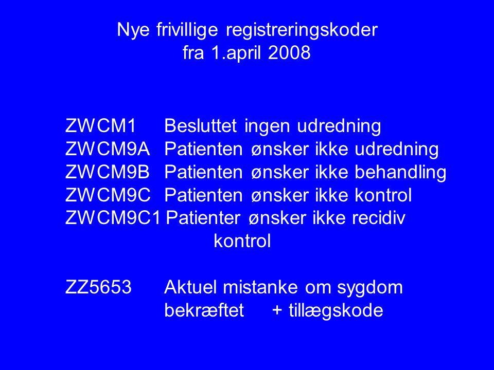 Nye frivillige registreringskoder fra 1.april 2008