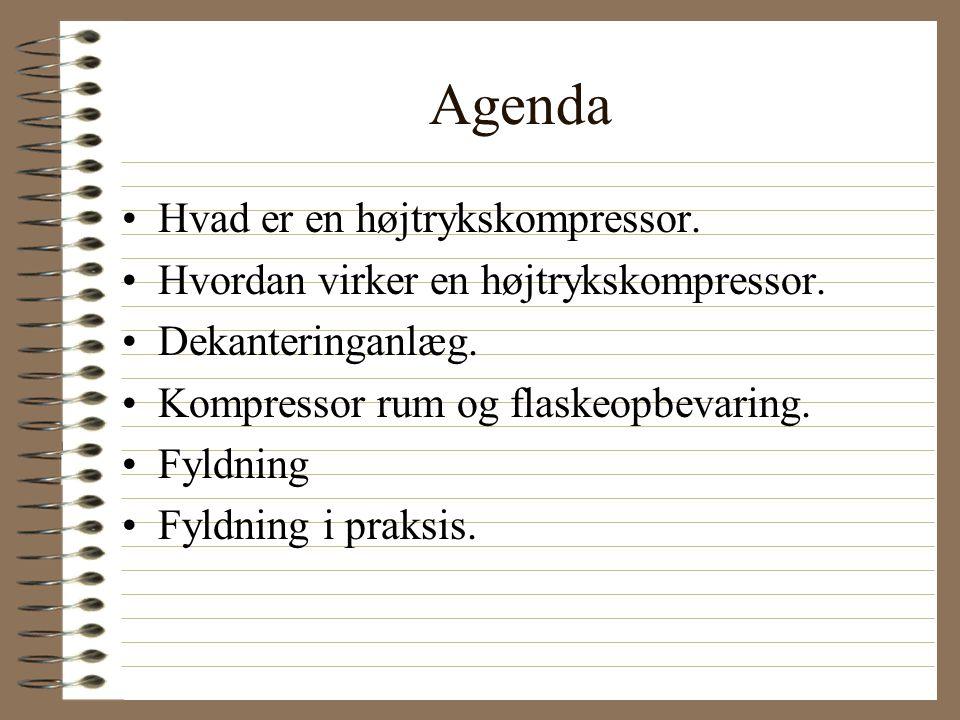Agenda Hvad er en højtrykskompressor.