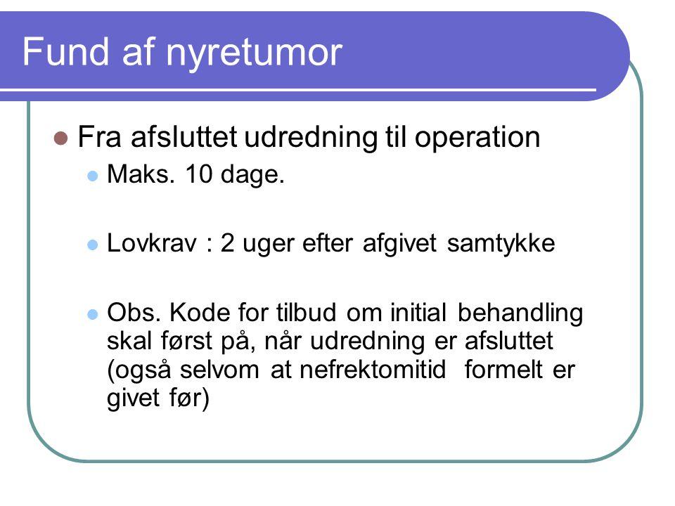 Fund af nyretumor Fra afsluttet udredning til operation Maks. 10 dage.