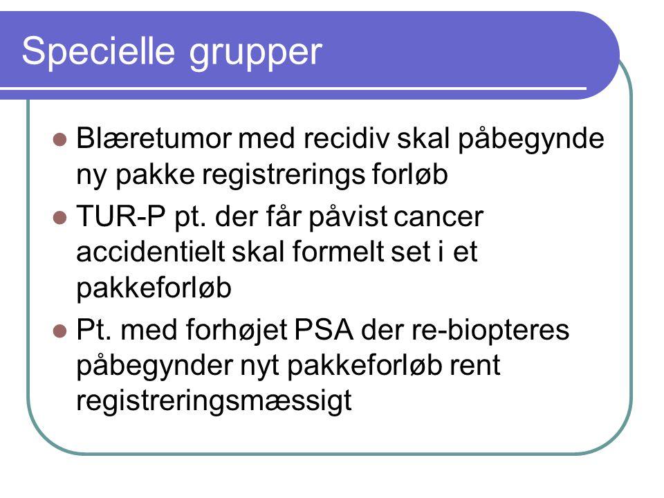 Specielle grupper Blæretumor med recidiv skal påbegynde ny pakke registrerings forløb.