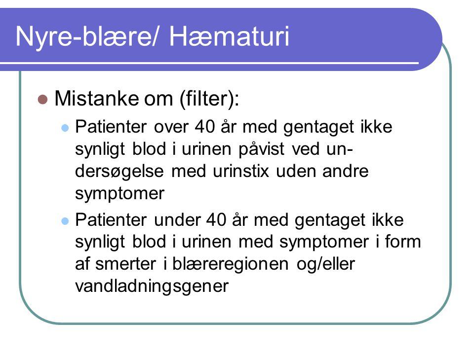 Nyre-blære/ Hæmaturi Mistanke om (filter):