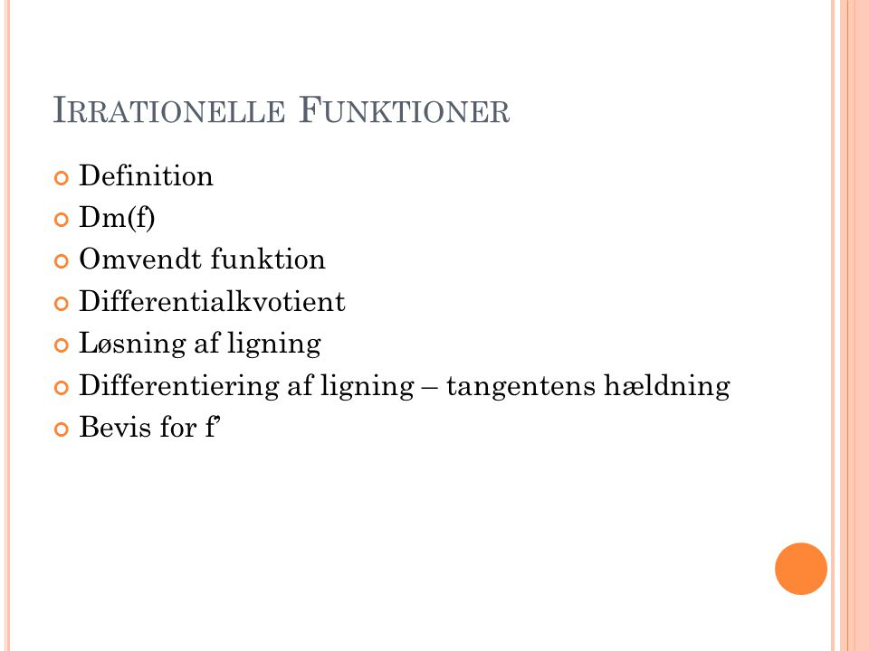 Irrationelle Funktioner