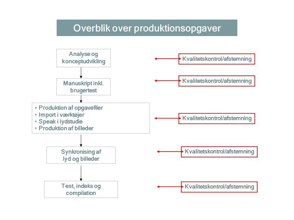 Overblik over produktionsopgaver