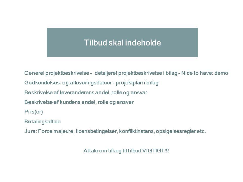 Aftale om tillæg til tilbud VIGTIGT!!!