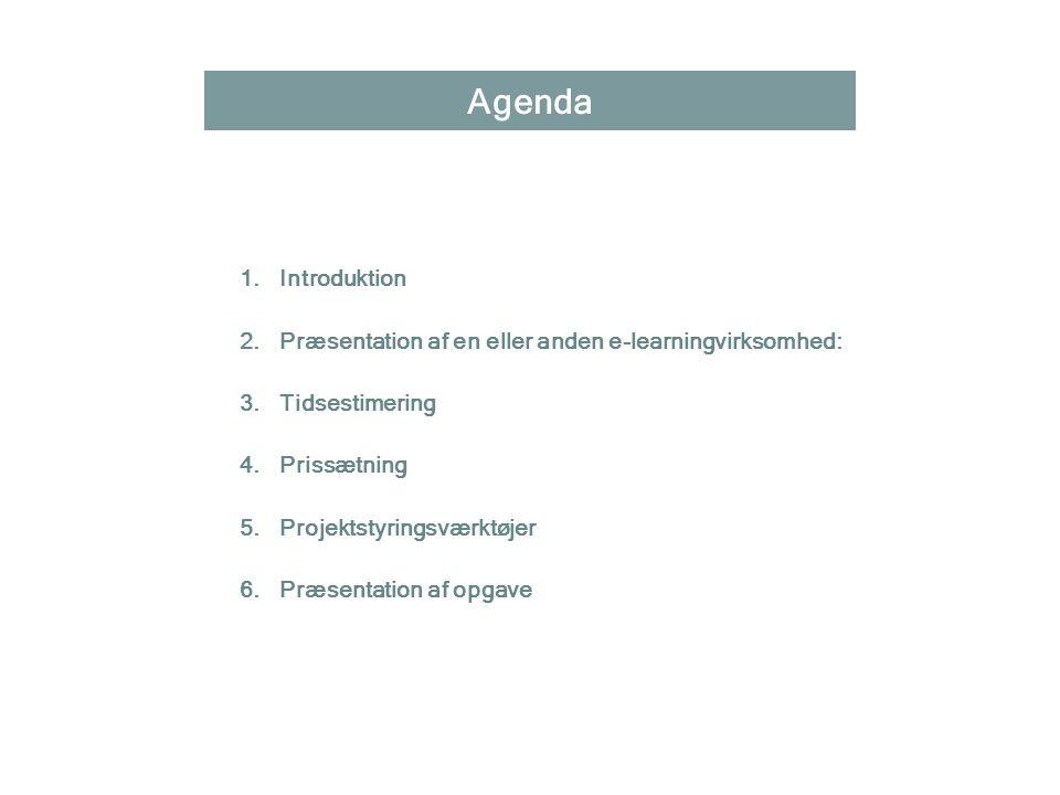 Agenda Introduktion. Præsentation af en eller anden e-learningvirksomhed: Tidsestimering. Prissætning.