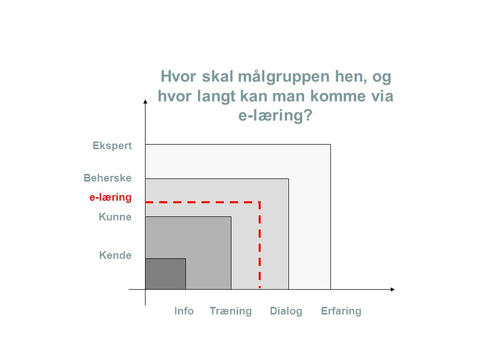 Hvor skal målgruppen hen, og hvor langt kan man komme via e-læring