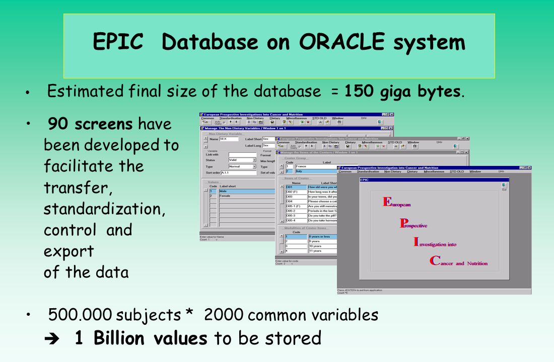 EPIC Database on ORACLE system