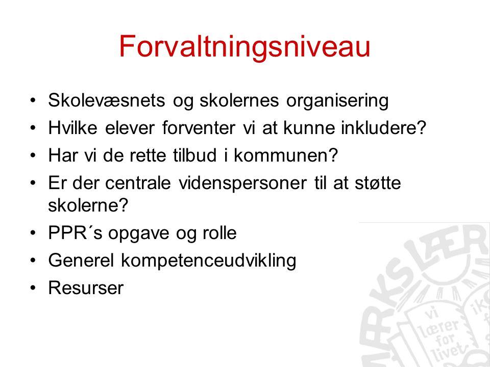 Forvaltningsniveau Skolevæsnets og skolernes organisering