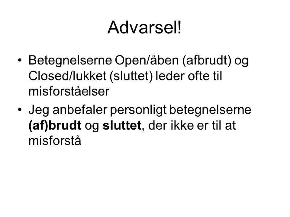 Advarsel! Betegnelserne Open/åben (afbrudt) og Closed/lukket (sluttet) leder ofte til misforståelser.