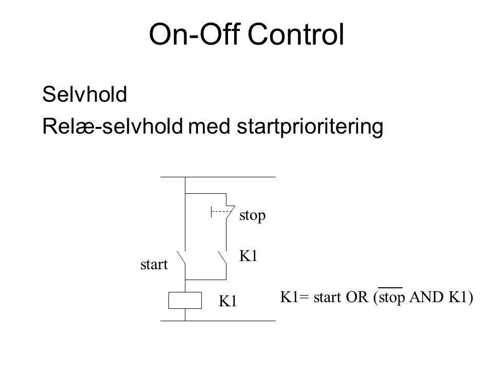 On-Off Control Selvhold Relæ-selvhold med startprioritering stop K1