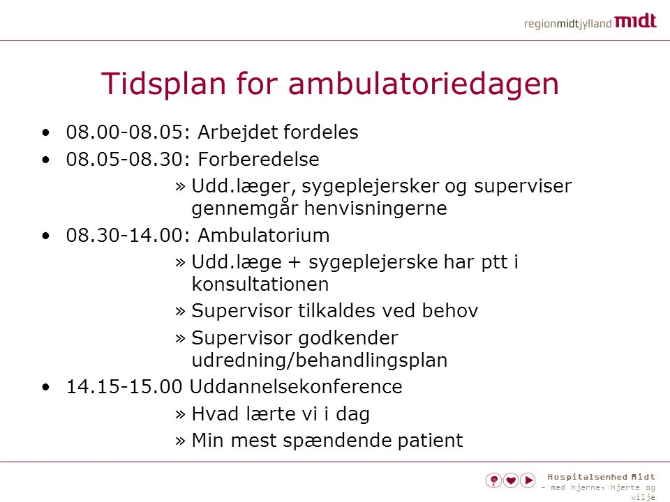 Tidsplan for ambulatoriedagen