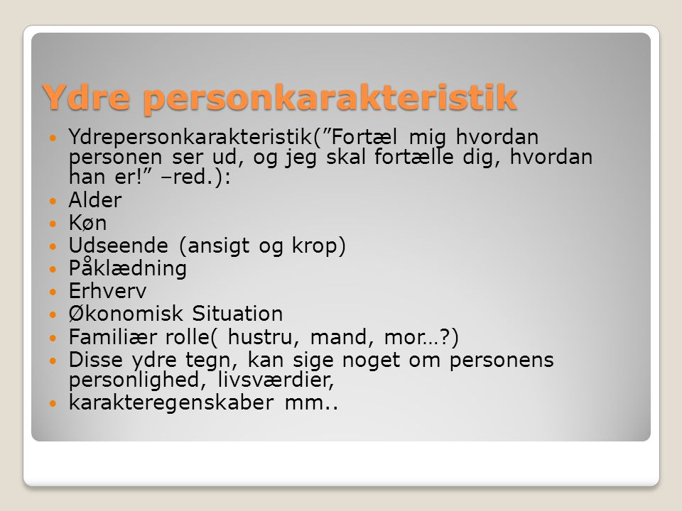 Ydre personkarakteristik