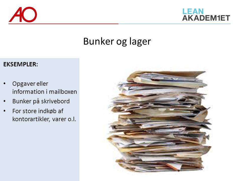 Bunker og lager EKSEMPLER: Opgaver eller information i mailboxen