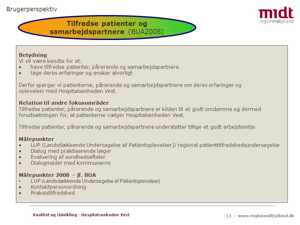 Tilfredse patienter og samarbejdspartnere (BUA2008)