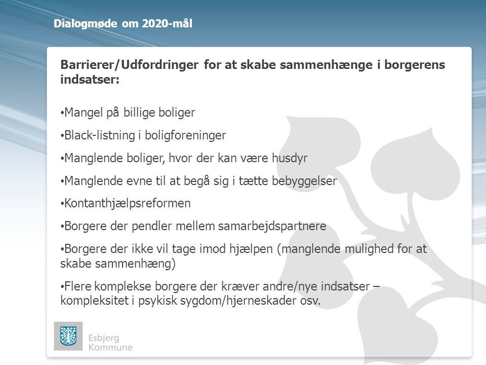 Barrierer/Udfordringer for at skabe sammenhænge i borgerens indsatser: