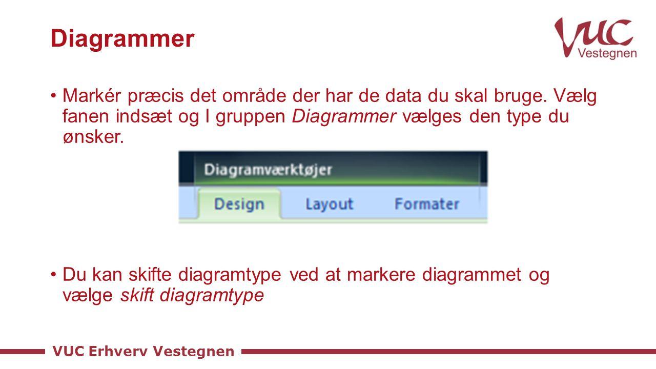 Diagrammer Markér præcis det område der har de data du skal bruge. Vælg fanen indsæt og I gruppen Diagrammer vælges den type du ønsker.