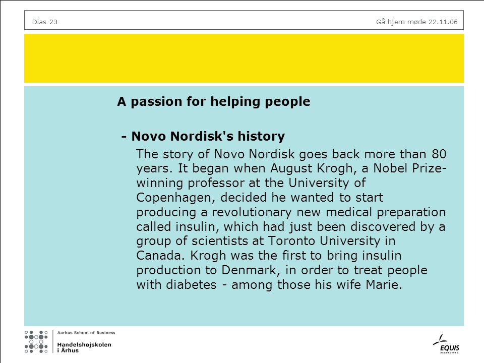 A passion for helping people - Novo Nordisk s history