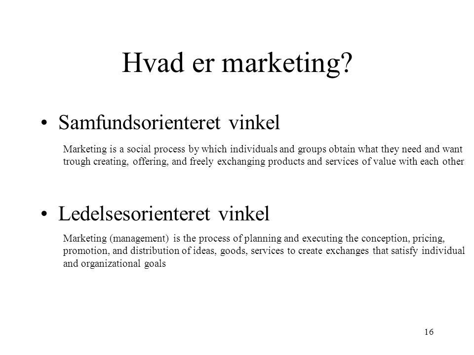 Hvad er marketing Samfundsorienteret vinkel Ledelsesorienteret vinkel