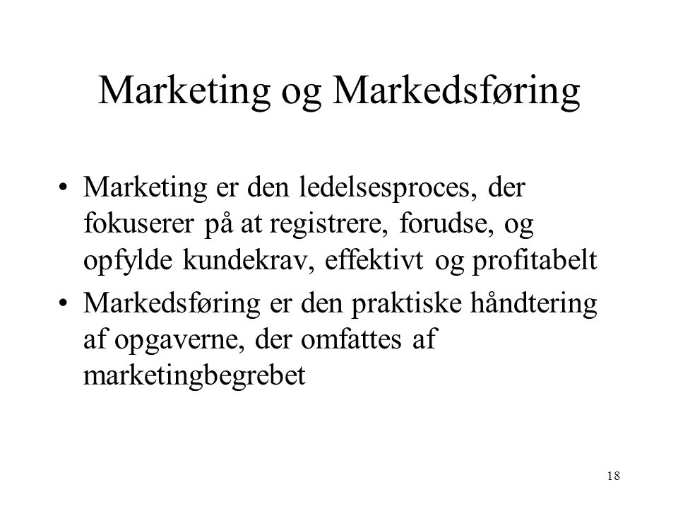 Marketing og Markedsføring
