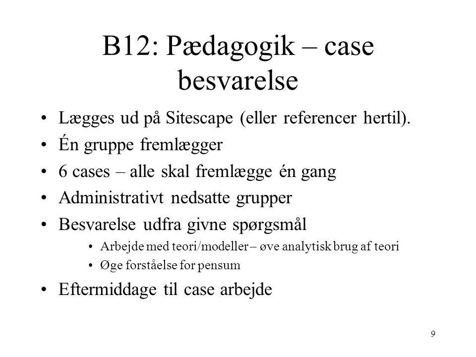 B12: Pædagogik – case besvarelse