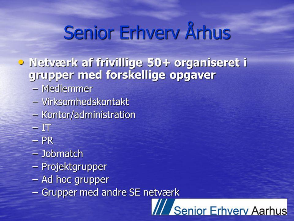 Senior Erhverv Århus Netværk af frivillige 50+ organiseret i grupper med forskellige opgaver. Medlemmer.
