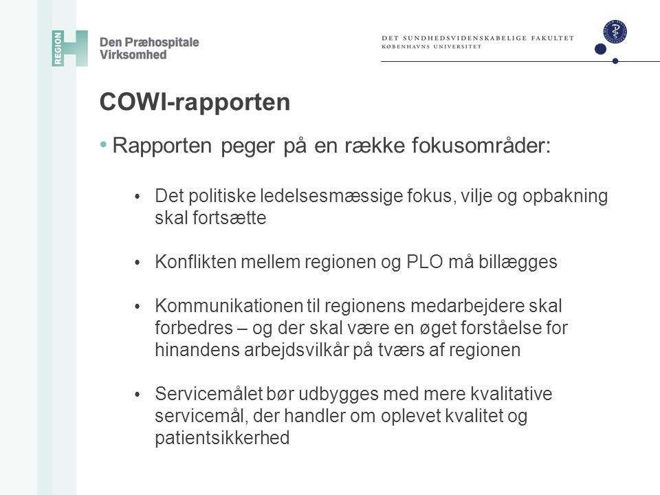 COWI-rapporten Rapporten peger på en række fokusområder: