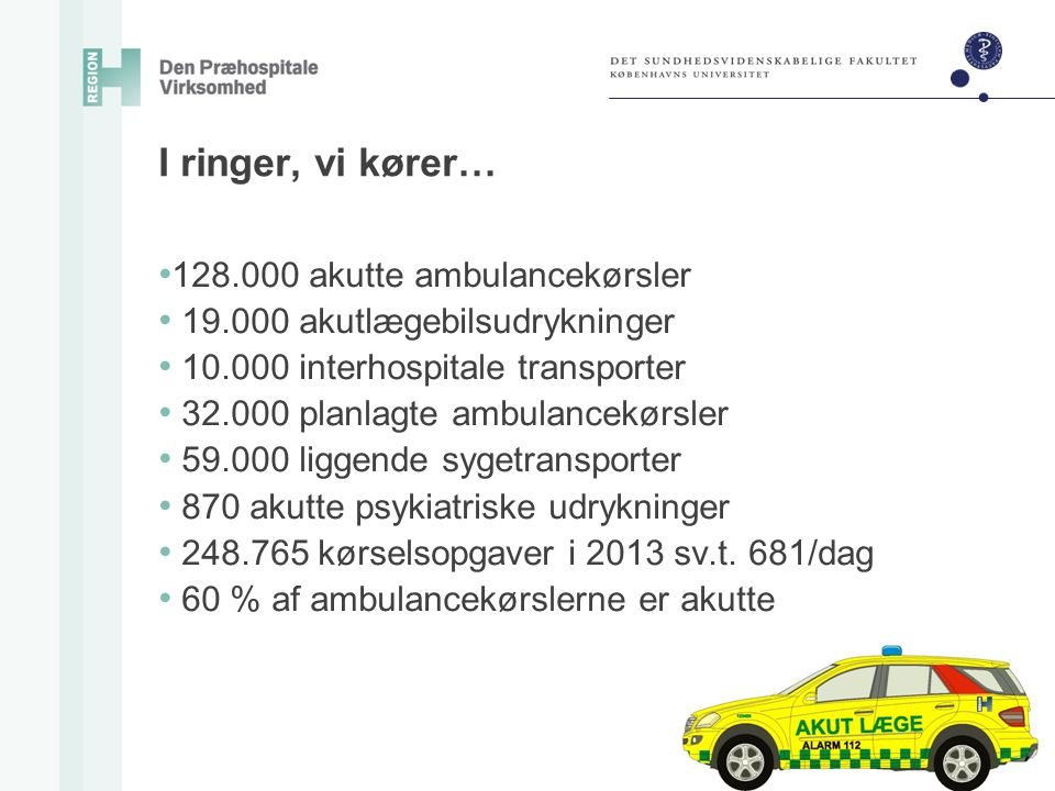 I ringer, vi kører… 128.000 akutte ambulancekørsler
