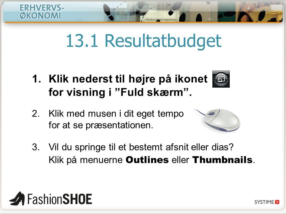13.1 Resultatbudget Klik nederst til højre på ikonet for visning i Fuld skærm . Klik med musen i dit eget tempo for at se præsentationen.