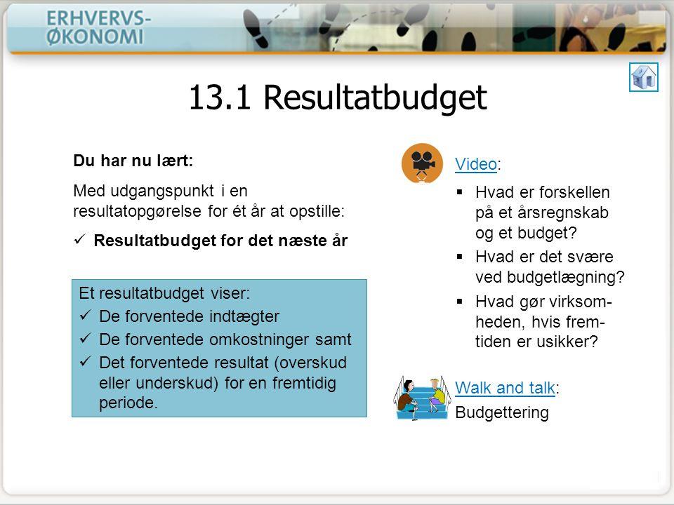 13.1 Resultatbudget Du har nu lært: Video: