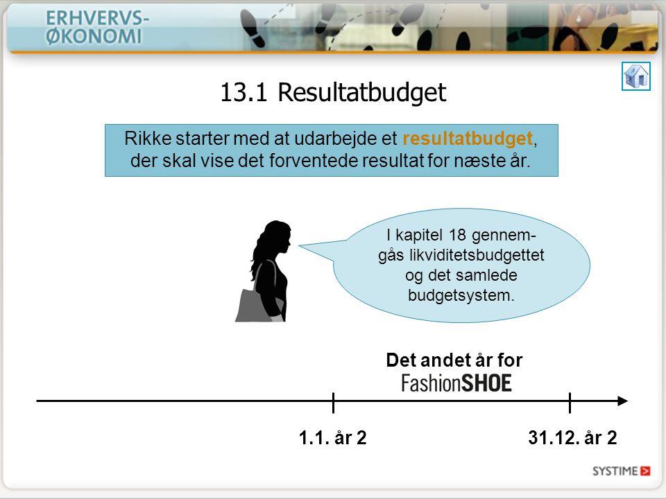 13.1 Resultatbudget Rikke starter med at udarbejde et resultatbudget, der skal vise det forventede resultat for næste år.