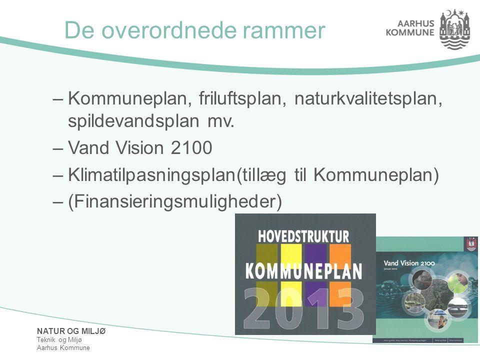 De overordnede rammer Kommuneplan, friluftsplan, naturkvalitetsplan, spildevandsplan mv. Vand Vision 2100.